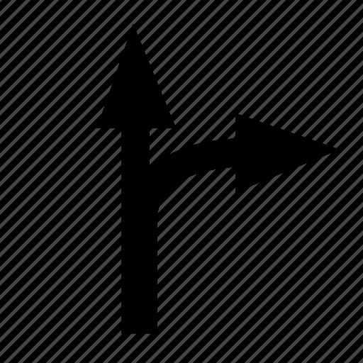 arrow, right, side, upper icon