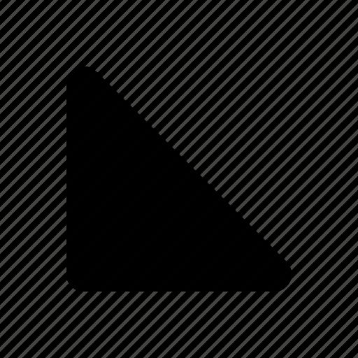 arrow, down, left, side icon