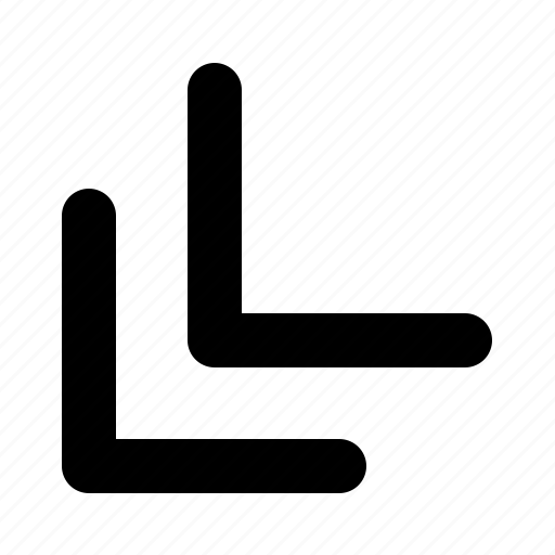 arrow, down, left, side, sign icon