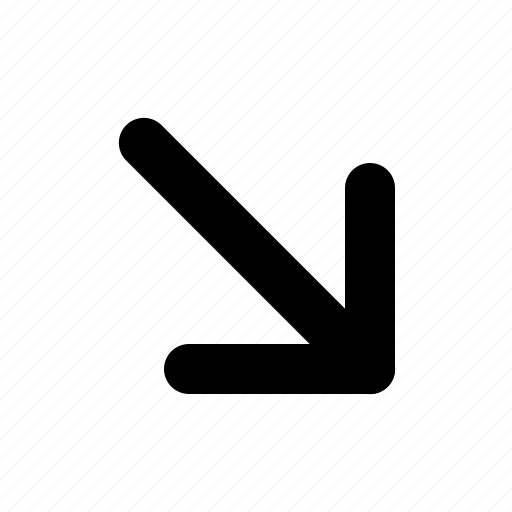 arrow, down, right, side icon