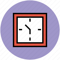 lock, square clock, time, time keeper, timer, wall clock icon