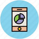 business graph, chart, online presentation, pie chart, smartphone icon