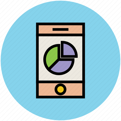 business graph, chart, online presentation, pie chart, smartphone icon