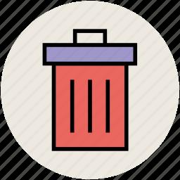 dustbin, garbage bin, trash can, trash container icon