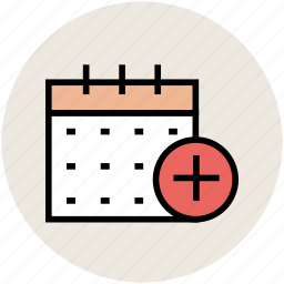 add sign, calendar, new calendar, schedule, timetable icon