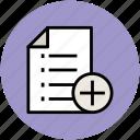 add, add document, document, list, new, plus sign icon