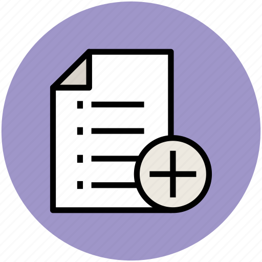 add, add document, document, list, new, plus sign icon