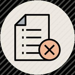 canceled, delete, delete document, list, remove icon