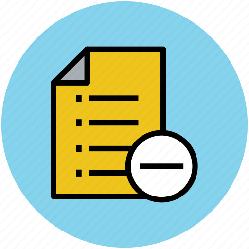 delete document, list, minus sign, remove, remove document icon