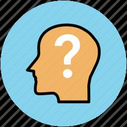 brain, head, idea, questionmark, think icon