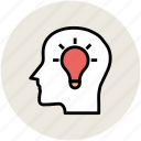 brain, bulb, head, human head, idea, intelligence icon