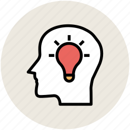 brain, bulb, head, human head, idea, intelligence icon