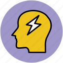 brain, brain storm, flash sign, head, human head, idea concept, new idea icon