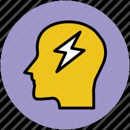 brain, brain storm, flash sign, head, human head, idea concept, new idea icon