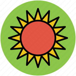 bright day, climate, hot weather, sun, sunny day icon