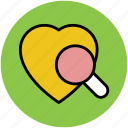 heart, heart diagnosis, magnifier, magnifying, search, searching icon