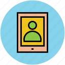 screen, tablet, tablet screen, user, video call, video chatting icon