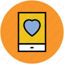 heart sign, mobile, online activities, screen, tablet icon