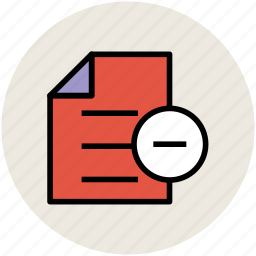 doc, document, note, remove document, remove sign, sheet icon