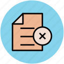 canceled, delete sign, doc, document, note, sheet icon