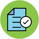 accepted, checked, checkmark, document, verified icon