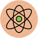 atom, atom sign, atomic symbol, molecular, nuclear, science icon