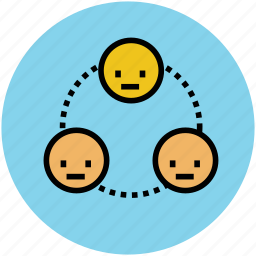 connected, connection, internet, network, people face, social network icon