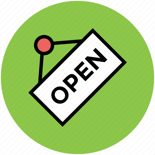 hanging signboard, info, information, open, open shop, shop label icon