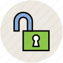 lock, padlock, password, safety concept, unlock icon