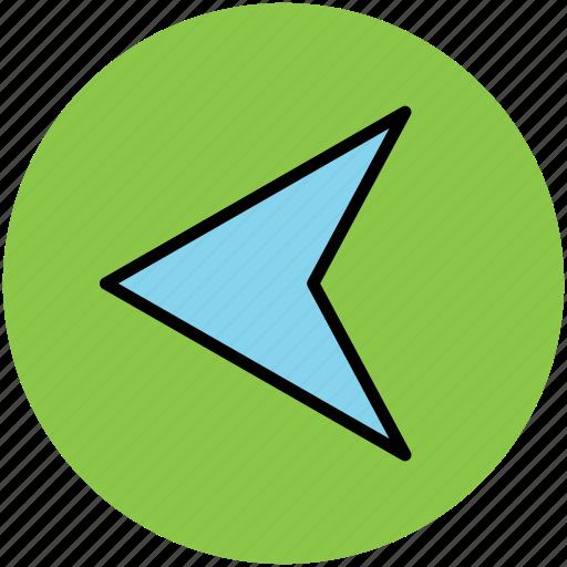 arrow, back, cursor, guide mark, left, left arrow, navigational arrow icon