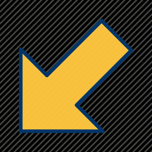 arrow, direction, left down, navigation icon