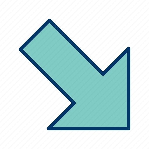arrow, direction, right down icon