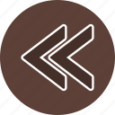 previous, rewind, undo icon