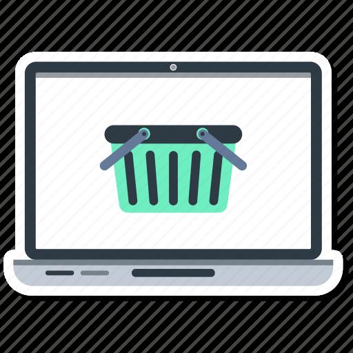 basket, computer, laptop, macbook, notebook, online shopping icon