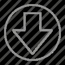 arrow, down, south icon