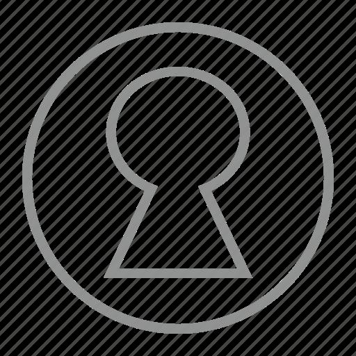 keyhole, lock, secure, unlock icon