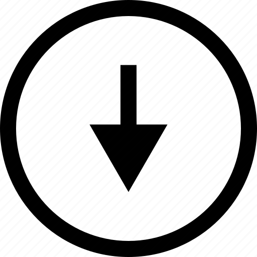 arrow, down, download, menu, point icon