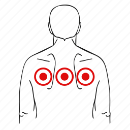 dots, health, illness, man, pain icon