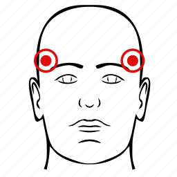 dots, head, man, pain, pressure, pulse icon
