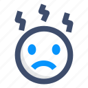 emoticons, emotion, smiley, stress icon