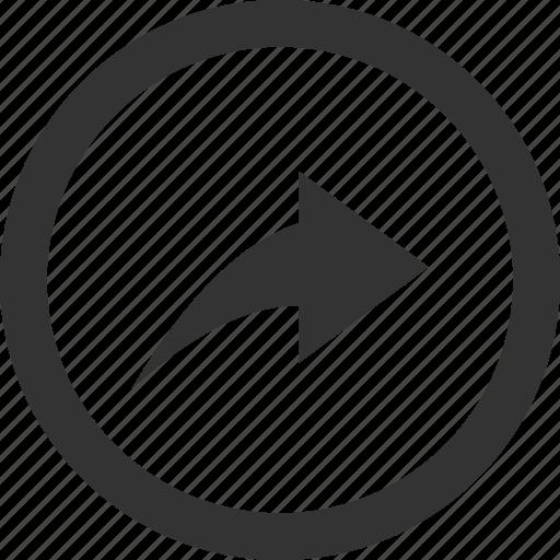 arrow, circle, forward, next, reply, respond icon
