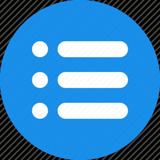 blue, bullet, justified, list, menu, options icon