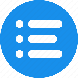 blue, bullet, justified, list, menu, options icon