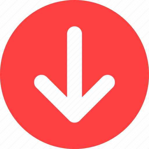 arrow, direction, down, red icon