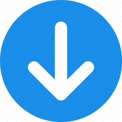 arrow, blue, direction, down icon