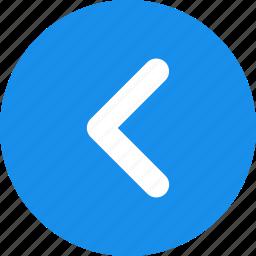 arrow, blue, circle, direction, left, previous icon
