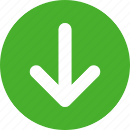 arrow, direction, down, green icon