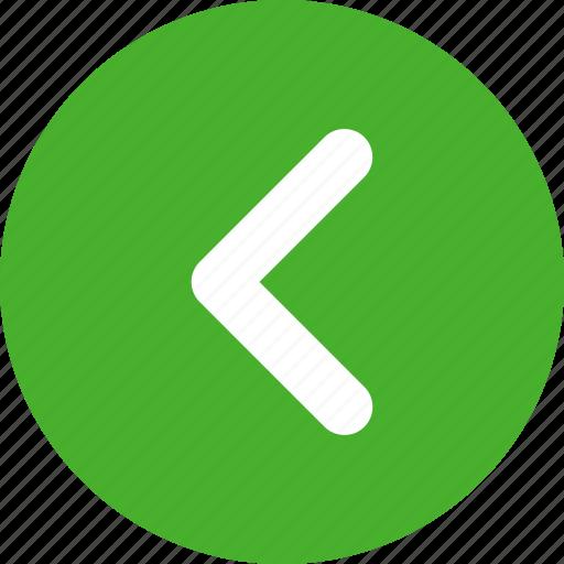 arrow, circle, direction, green, left, previous icon