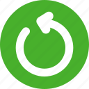 green, power, refresh, reload, restart icon