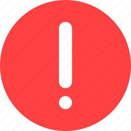 alert, caution, danger, error, exclamation, red icon